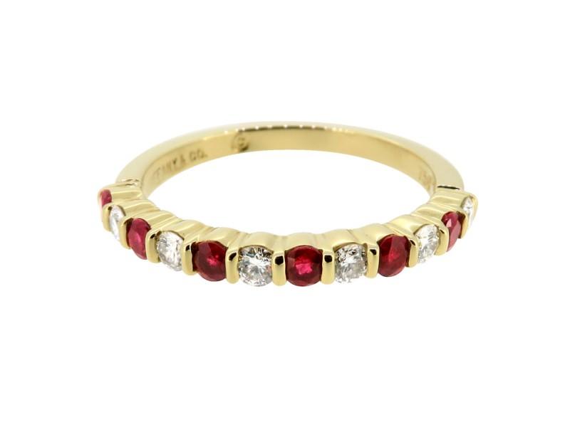 Tiffany & Co. Yellow Gold Ruby Diamond Wedding Band Ring