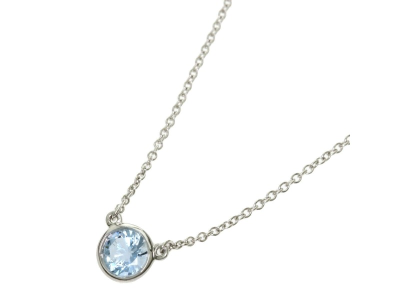 TIFFANY & Co. Platinum Aquamarine By The Yard Necklace