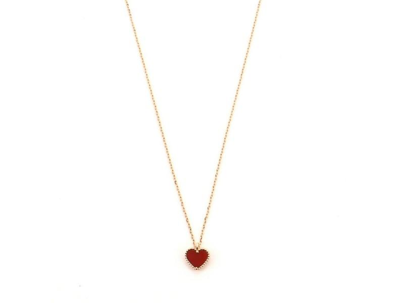 Van Cleef & Arpels Sweet Alhambra Heart Pendant 18K Rose Gold and Carnelian Necklace