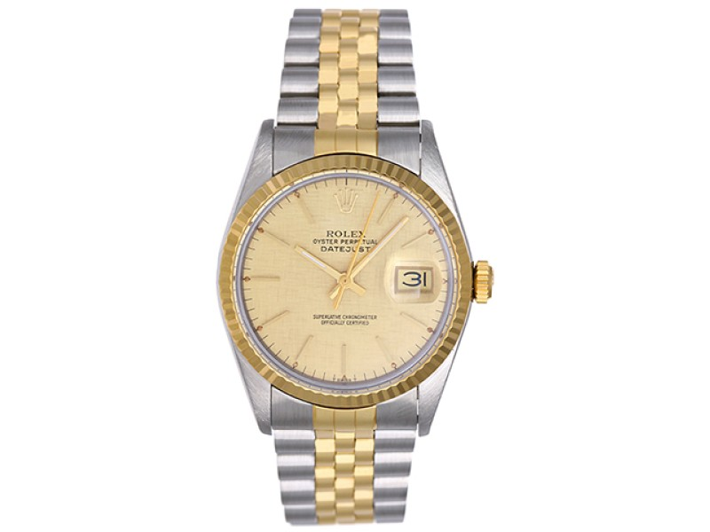 Rolex Datejust 16013 Stainless Steel / 18K Yellow Gold 36mm Mens Watch