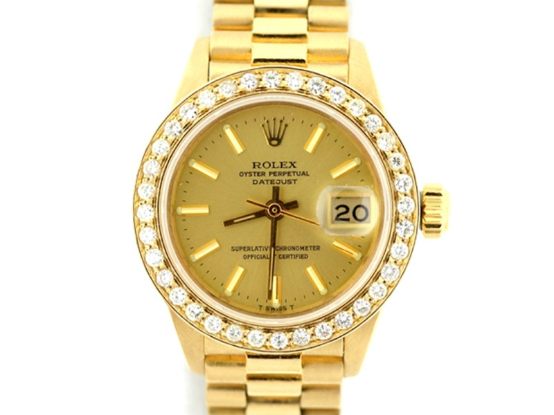 Rolex Presidential Datejust Diamond Yellow Dial 18K Yellow Gold 26mm Watch