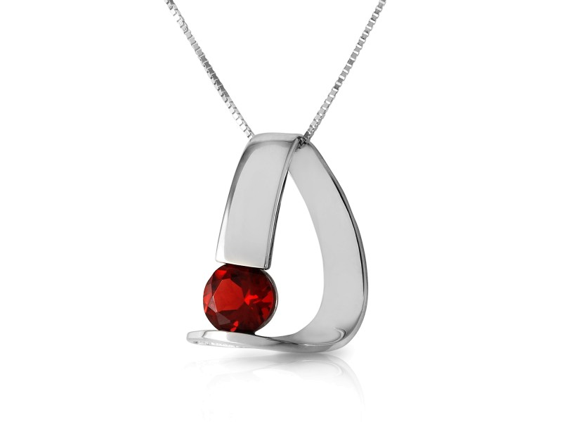 14K Solid White Gold Modern Necklace with Natural Garnet