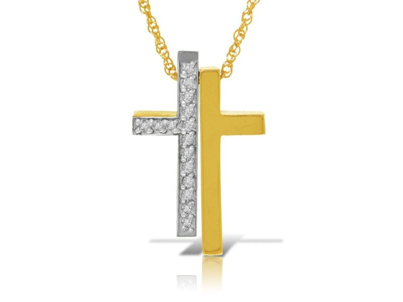 14K Solid Gold Split Cross Necklace with Natural Diamonds