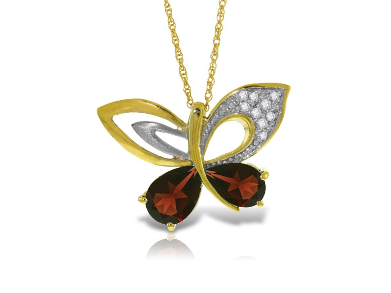 14K Solid Gold Batterfly Necklace withNatural Diamonds & Garnets