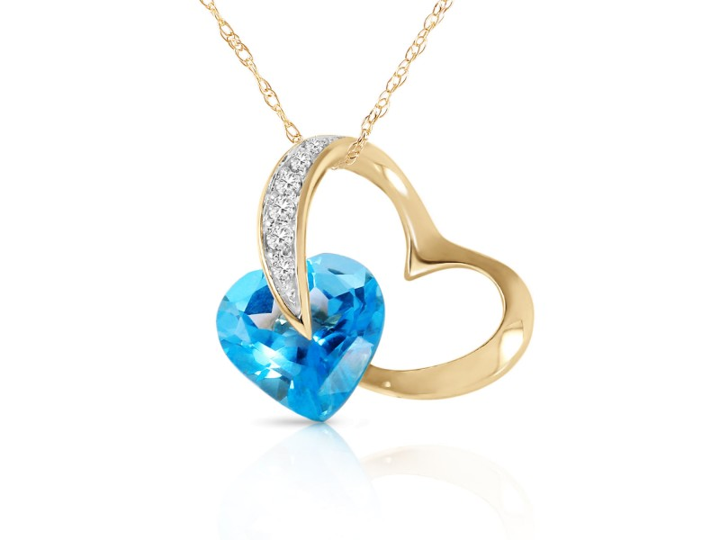 14K Solid Gold Heart Necklace with Natural Diamonds & Blue Topaz