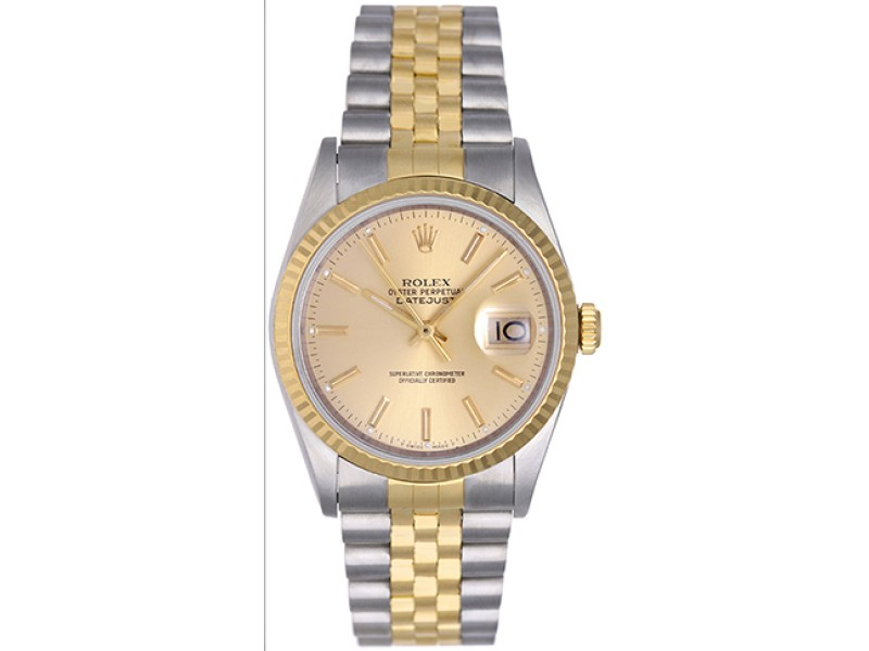 Rolex Datejust 16233 Stainless Steel and 18K Yellow Gold 36mm Mens Watch