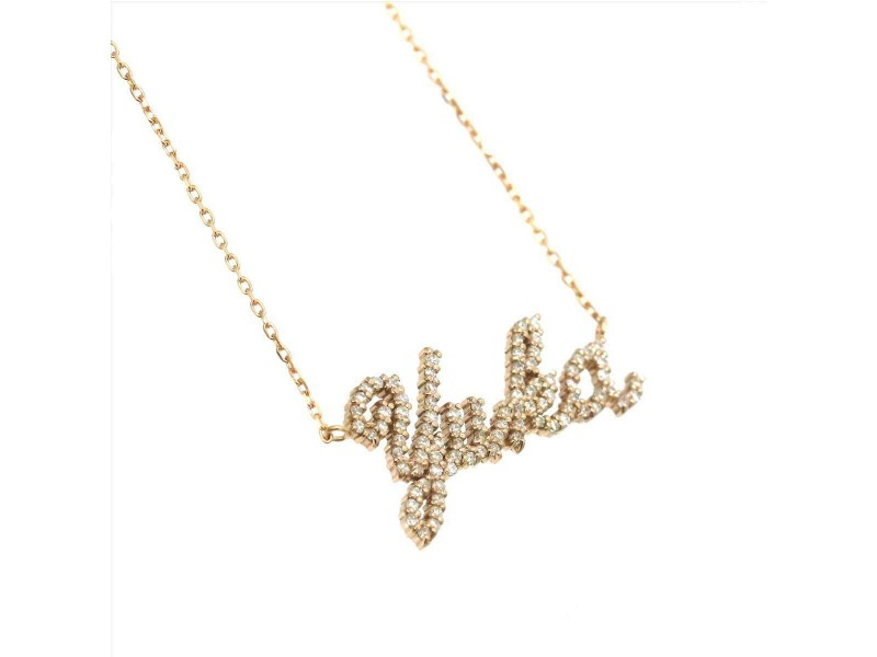Samantha Tiara 18k Pink gold Diamond Name Yuka Necklace