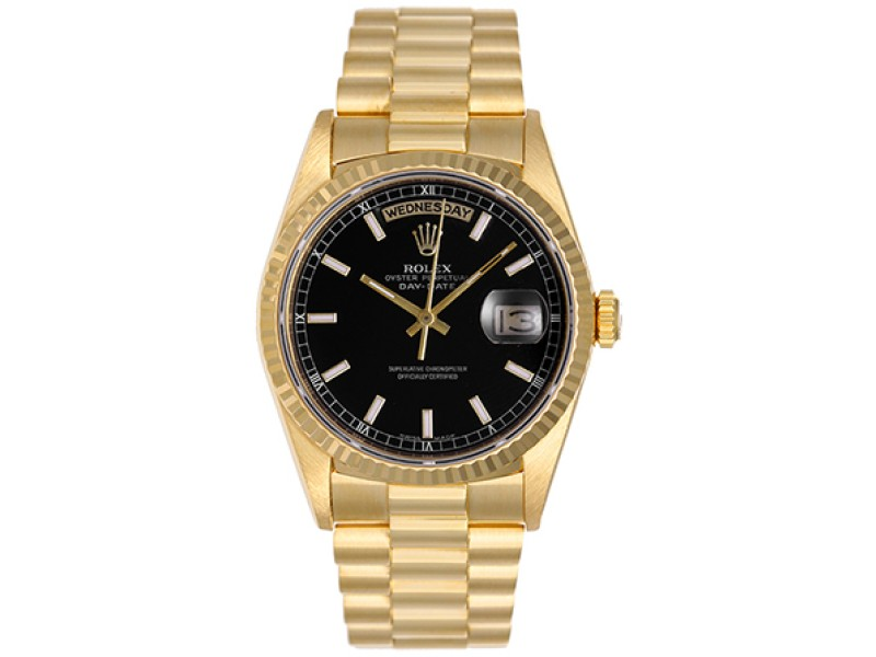 Rolex President - Day-Date 18238 18K Yellow Gold Black Dial 36mm Mens Watch
