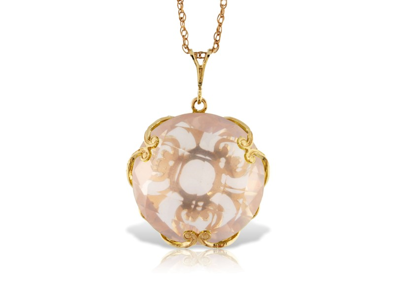 14K Solid Gold Necklace with Checkerboard Cut Round Rose Quartz