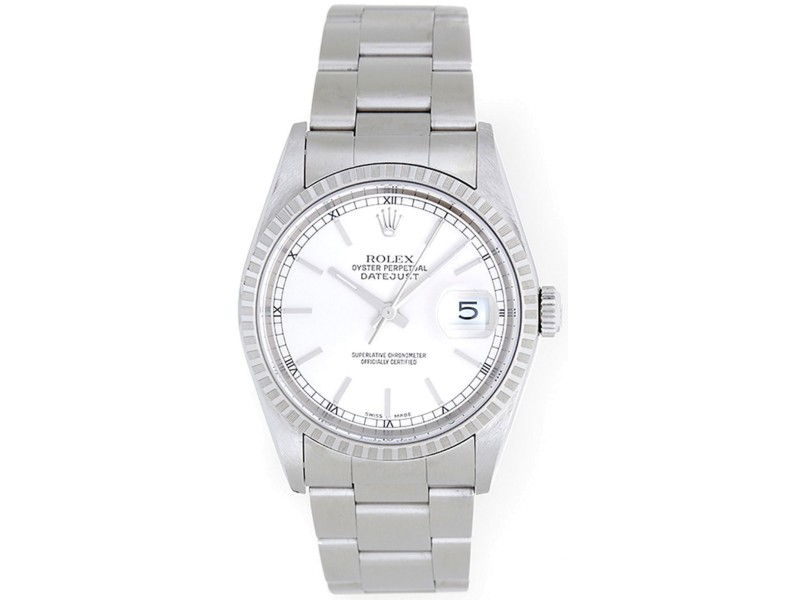 Rolex Datejust 16220 Stainless Steel White Dial 36mm Mens Watch