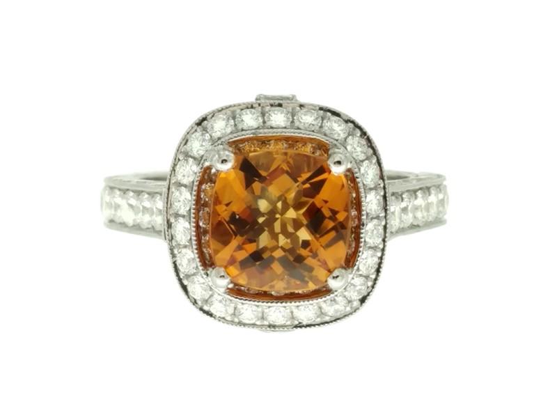 Jack Kelege Platinum Citrine 2.20ctw Diamond Ring Size 6.5