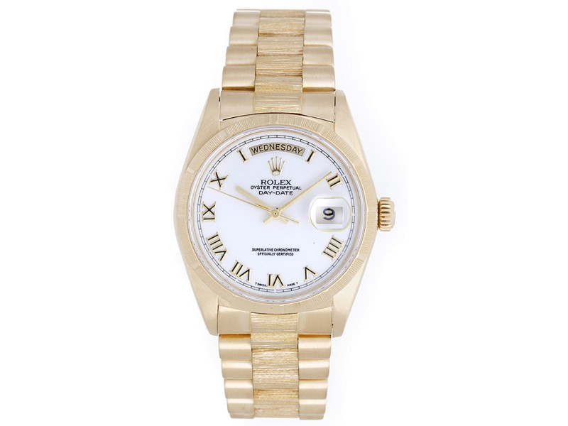 Rolex President Day-Date 18078 18K Yellow Gold Bark Finish 36mm Mens Watch