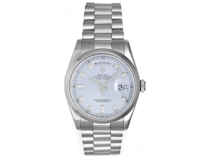 Rolex President Day-Date 118206 Platinum Glacier Blue Automatic 36mm Mens Watch