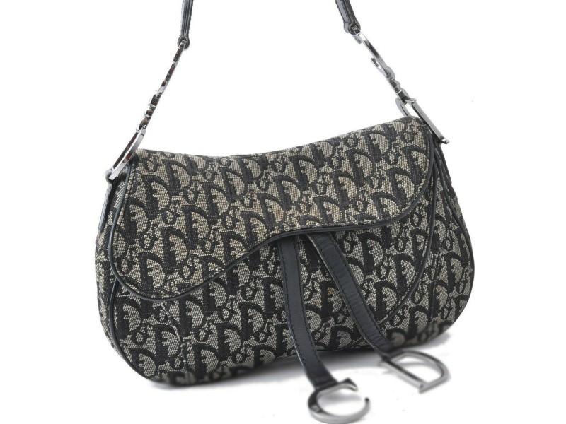 Christian Dior Trotter Shoulder Hand Bag Canvas Leather Black