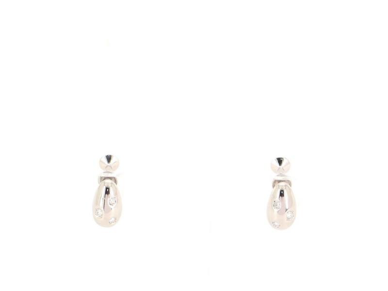 Mikimoto Diamond Clip-on Earrings 18K White Gold with Diamonds