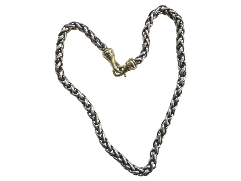 David Yurman Sterling Silver 14K Yellow Gold Necklace