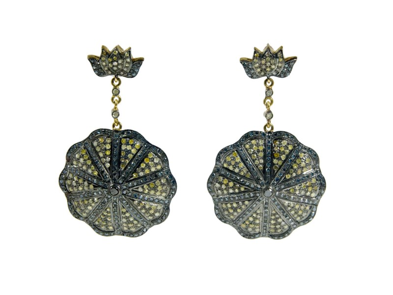 18K Yellow Gold Plated Sterling Silver with 6ct. Diamond Earrings