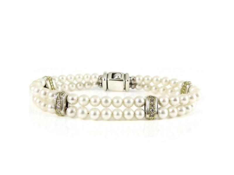 Lagos Sterling Silver 18K Yellow Gold .40tcw Diamond Circle Game 2-Row Pearl Line Bracelet