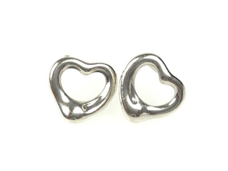 TIFFANY & Co. silver Elsa Peretti Open Heart Pierced Earrings