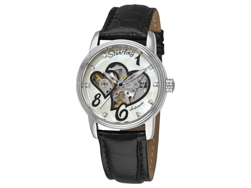 Stuhrling Venus Victrix 349.11157 Stainless Steel MOP & Leather 37mm Watch