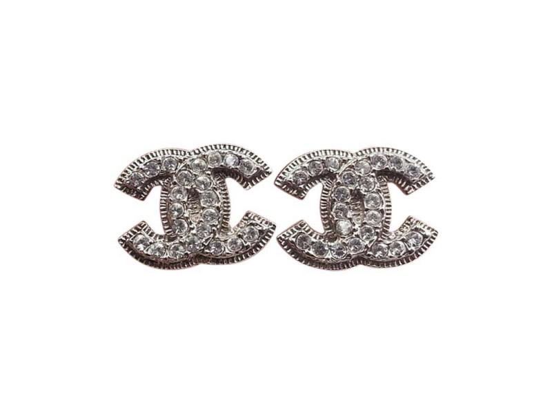 Chanel Silver-Tone Metal CC Earrings