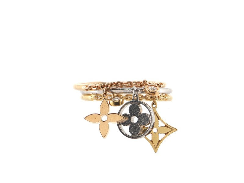 Louis Vuitton Idylle Blossom Pampilles Ring Set 18K Tricolor Gold with Diamonds