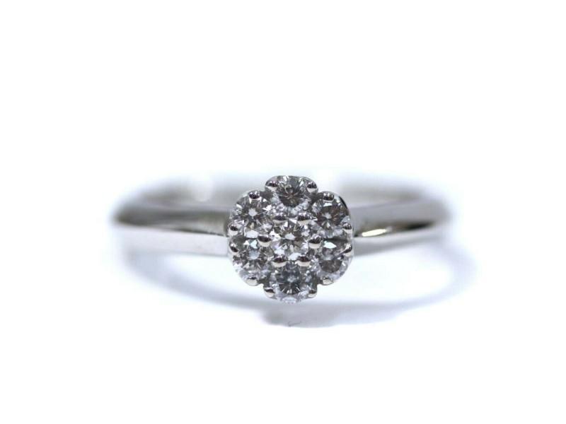 Ponte Vecchio 18k white gold/diamond Flower motif Ring