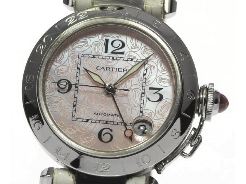 Cartier Pasha C Stainless Steel Pink Logo Dial  Automatic 35mm Watch