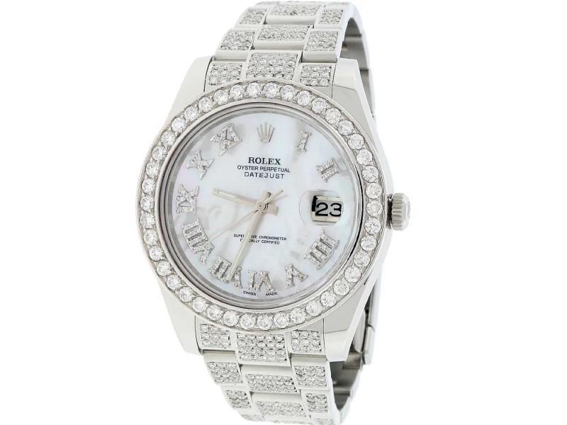 Rolex Datejust II 41MM Stainless Steel Automatic Oyster Mens Watch w/8.50CT Diamond Bezel, Bracelet, & MOP Roman Dial 116300