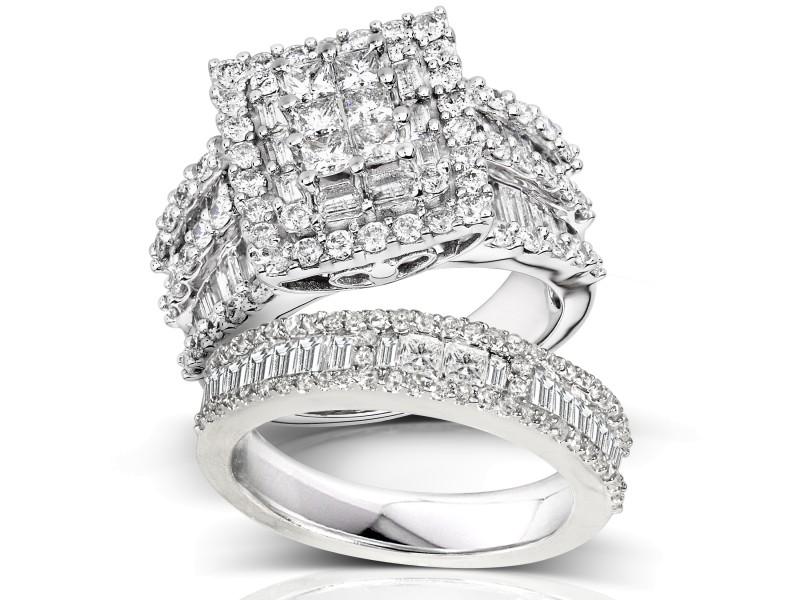 Kobelli Diamond Engagement Ring and Wedding Band Set 2 5/8 carats (ctw) in 14K White Gold