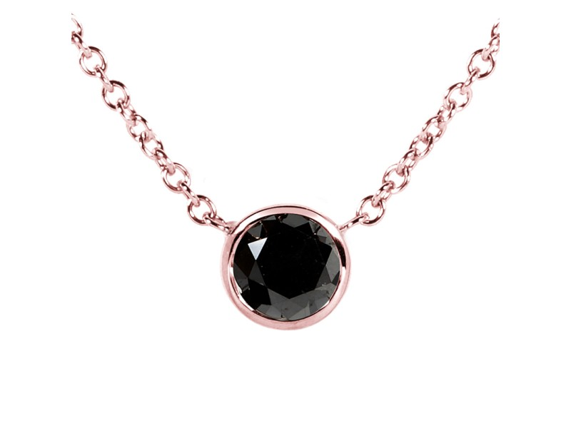 "Black Diamond 1/2 Carat Solitaire Bezel Necklace in 14K Rose Gold (16"" Chain)"