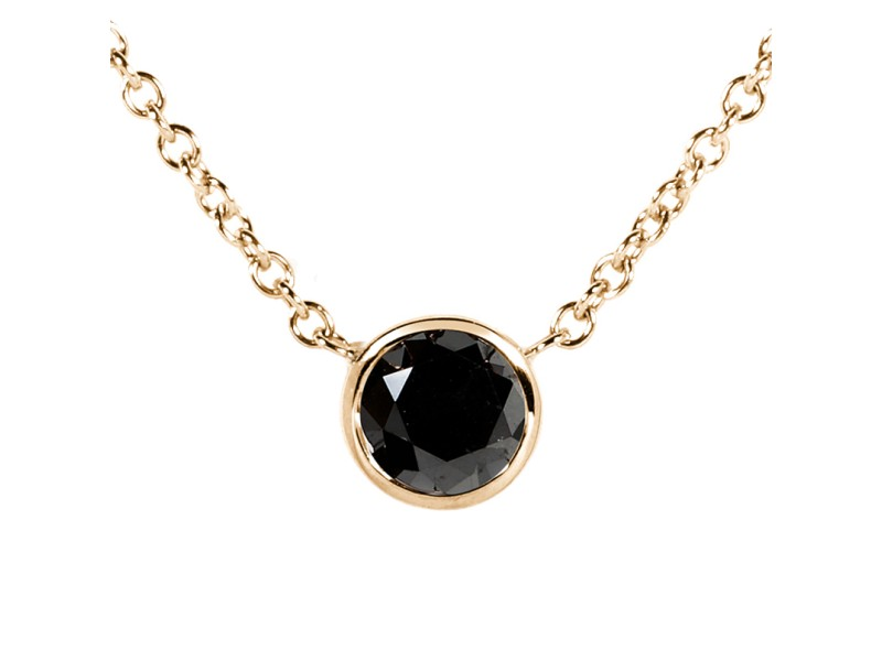 "Black Diamond 1/2 Carat Solitaire Bezel Necklace in 14K Yellow Gold (16"" Chain)"
