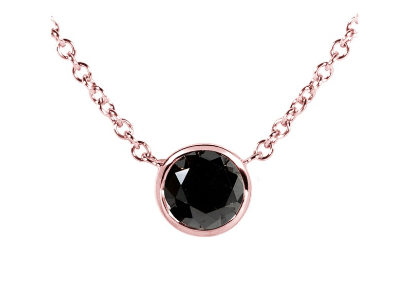 """Black Diamond Solitaire 3/4 Carat Round Bezel Necklace in 14K Gold (16"""" Chain) - rose-gold"""