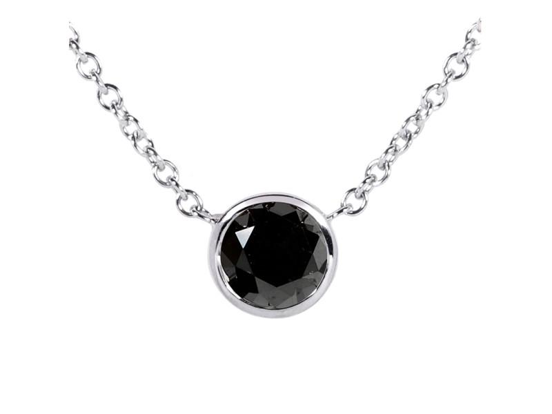 "Black Diamond Solitaire 3/4 Carat Round Bezel Necklace in 14K Gold (16"" Chain) - white-gold"