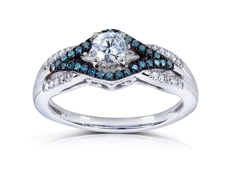 Blue and White Diamond Ring 1/2 Carat (ctw) in 14k White Gold - 10.0