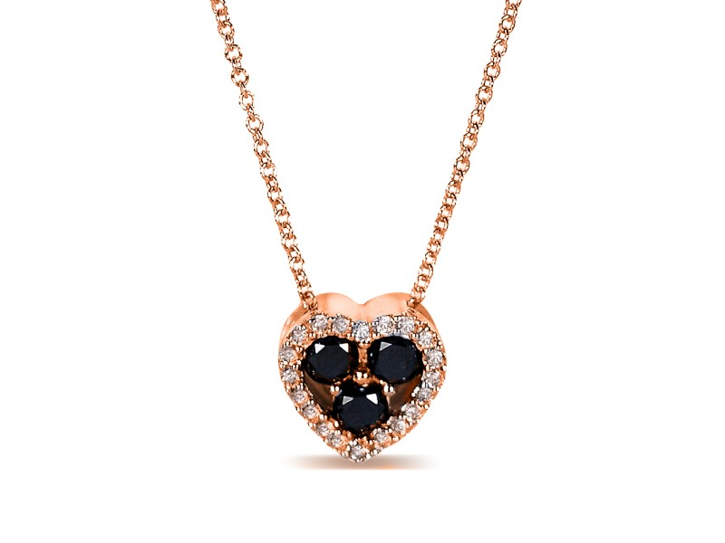 "Black and White Diamond Heart Shape Pendant 2/5 Carat (ctw) in 10k Gold (16"" Chain) - rose-gold"