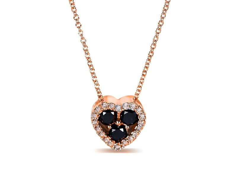 "Black and White Diamond Heart Shape Pendant 2/5 Carat (ctw) in 10k Gold (16"" Chain) - rose-gold"