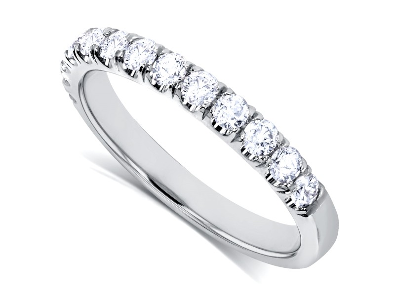 Diamond Comfort Fit Flame French Pave Band 1/2 carat (ctw) in Platinum - 11.0