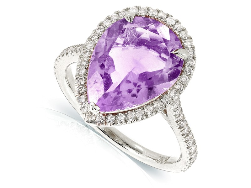 Pear Lavender Amethyst and Diamond Ring 10k Gold (4 5/8 CTW)