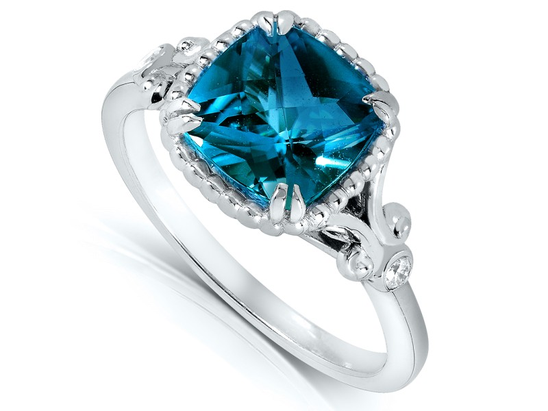 Cushion Cut London Blue Topaz And Diamond Engagement Ring 2 1 3 Carat Ctw In Silver With 14k Plated 11 0