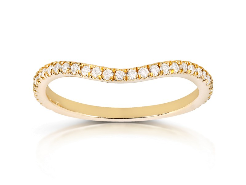 Round-cut Curved Diamond Band 1/5 Carat (ctw) in 14k Yellow Gold
