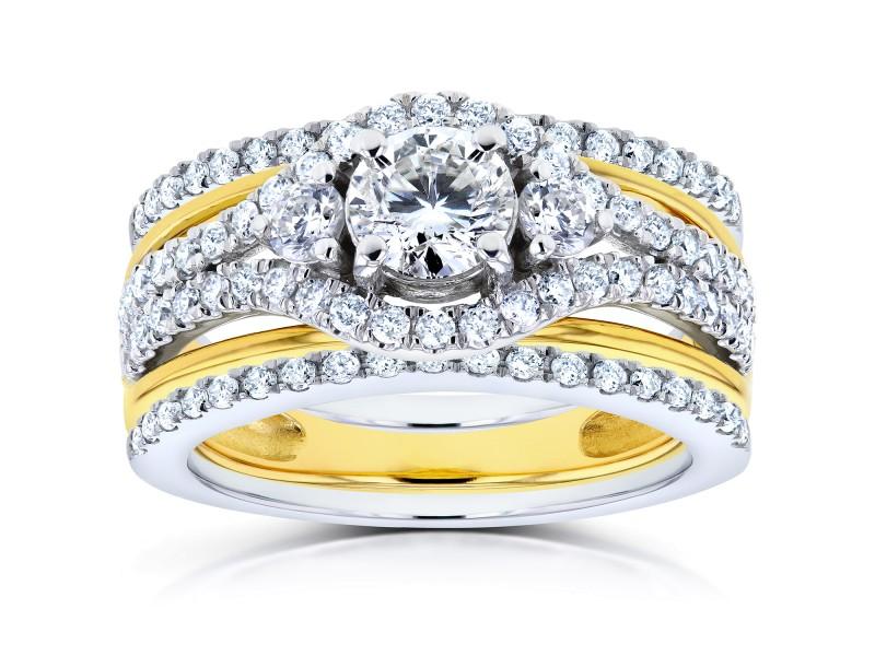 Round Diamond 3-Piece Bridal Set 1 1/3 CTW in 14k Two-Tone Gold