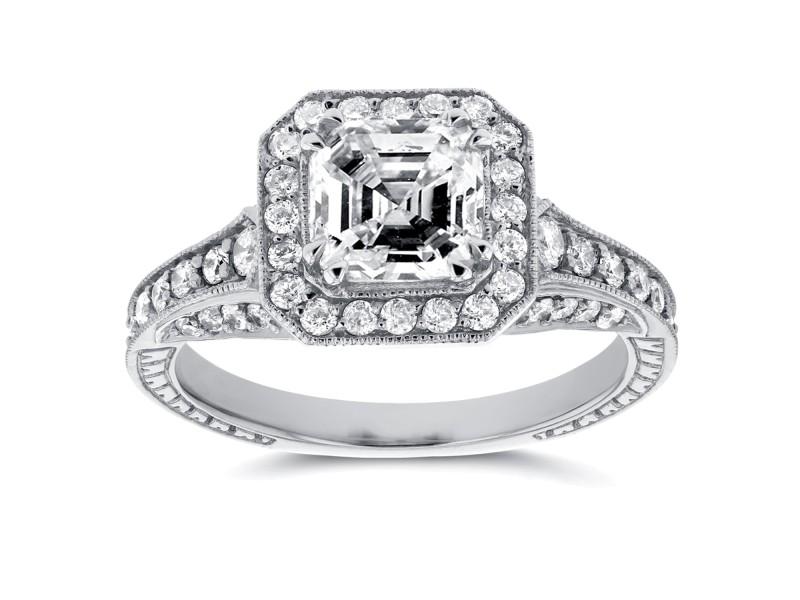 Antique Asscher Diamond Engagement Ring 1 3/5 CTW in 14k White Gold