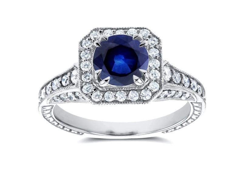 Sapphire and  Diamond Halo Antique Milgrain Ring 1 3/5 CTW in 14k White Gold