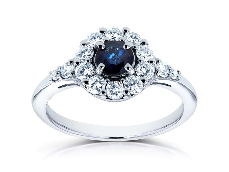 Sapphire and Halo Diamond Engagement Ring 7/8 CTW in 14k White Gold
