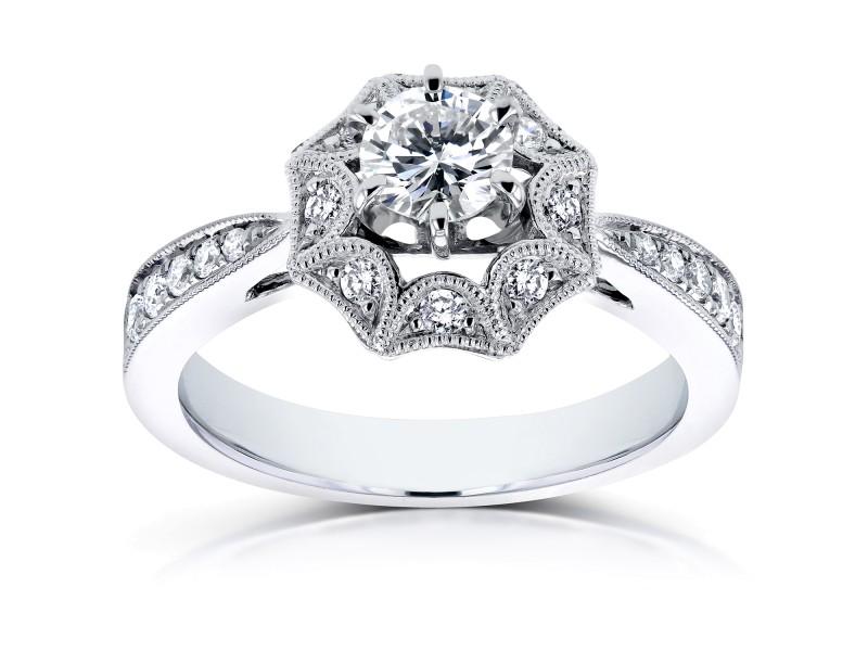 Diamond Starry Milgrain Engagement Ring 3/5 CTW in 14k White Gold