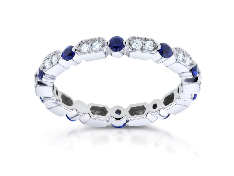 Diamond and Blue Sapphire Eternity Band 3/5 CTW in 14k White Gold