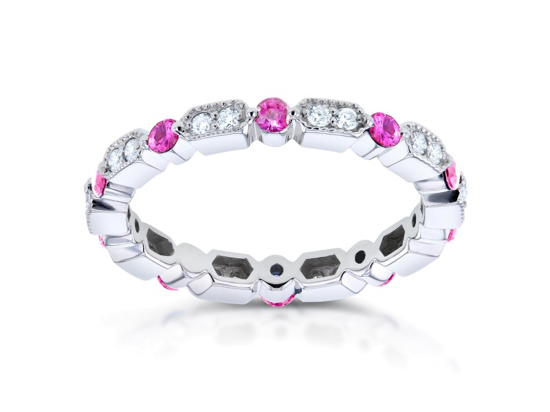 Diamond and Pink Sapphire Eternity Band 3/5 CTW in 14k White Gold