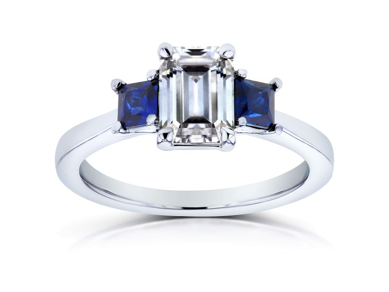Blue Sapphire and Diamond Engagement Ring 1 1/2 CTW In 14k White Gold