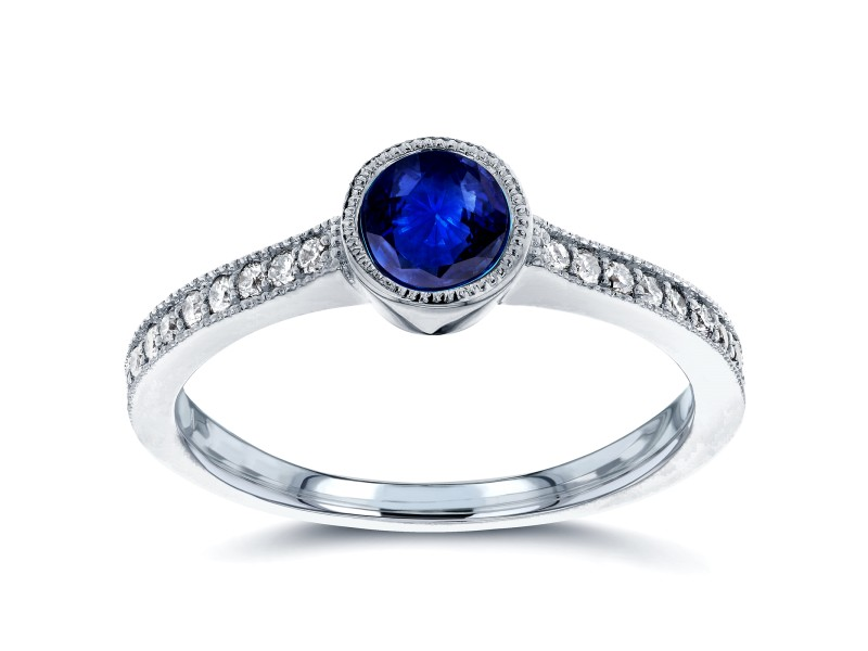 Art Deco Blue Sapphire and Diamond Bezel Engagement Ring 3/4 CTW in 14k White Gold
